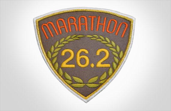 Embroidered Marathon Patch Brown & Orange