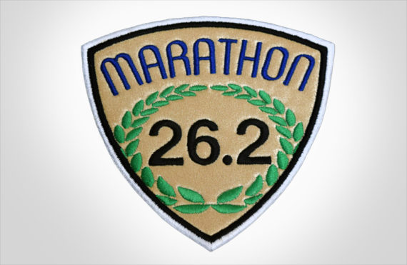 Embroidered Marathon Patch Gold & Royal Blue