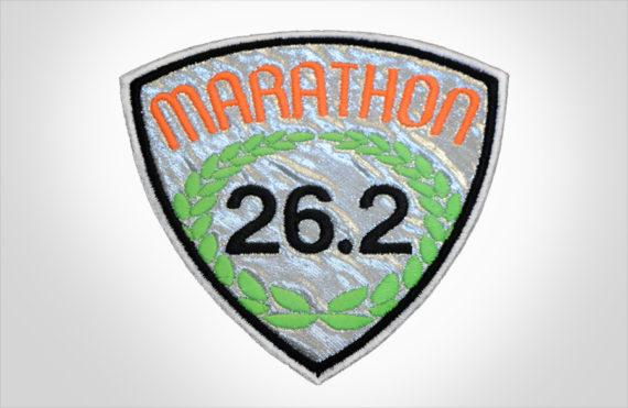 Embroidered Marathon Patch Silver & Orange