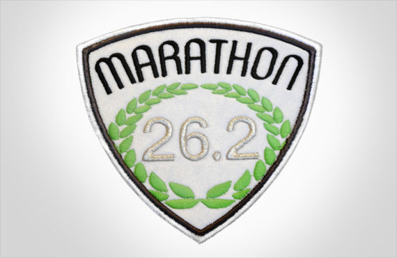 Embroidered Marathon Patch White & Black