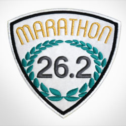 Embroidered Marathon Patch White & Gold