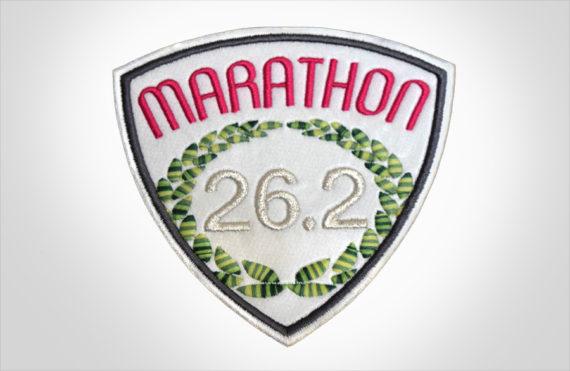 Embroidered Marathon Patch White & Magenta