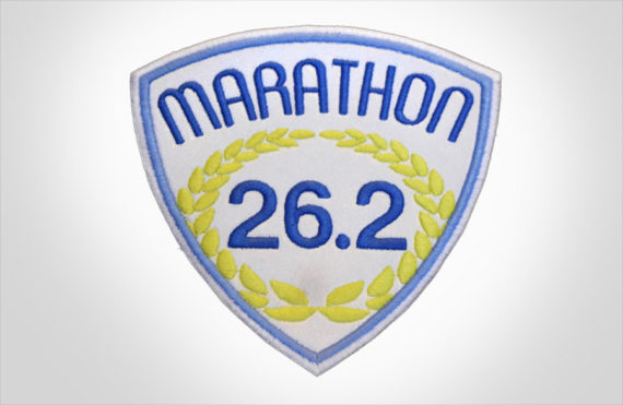 Embroidered Marathon Patch White & Medium Blue