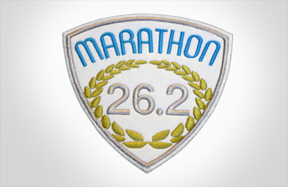 Embroidered Marathon Patch White, Medium Blue & Olive