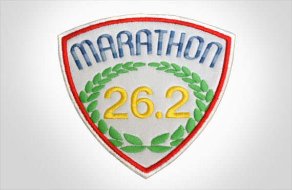 Embroidered Marathon Patch White, Multi Blue & Red