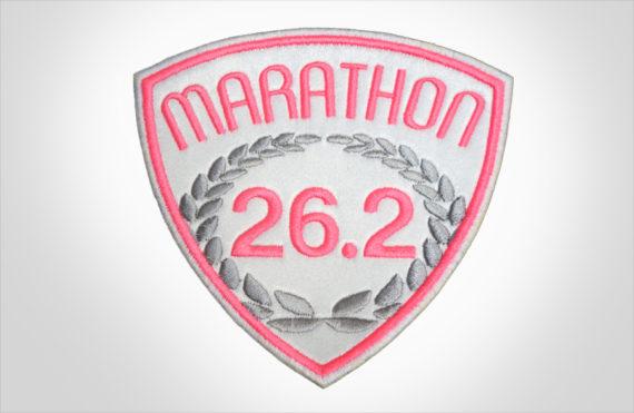 Embroidered Marathon Patch White & Pink