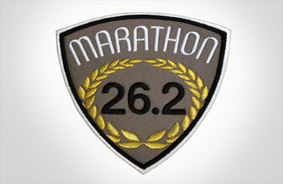 Embroidered Marathon Patch Brown & Gold