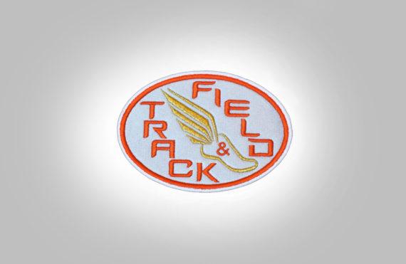 Track & Field Patch- LightGrey with orange stitching