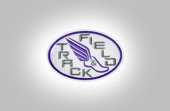 Track & Field Patch- Light grey with purple stitching