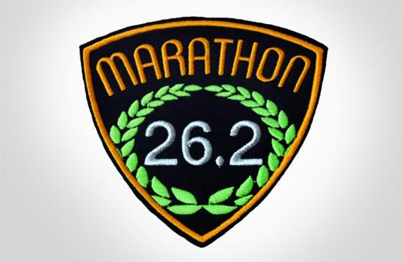 Embroidered Marathon Patch Black & Golden Orange